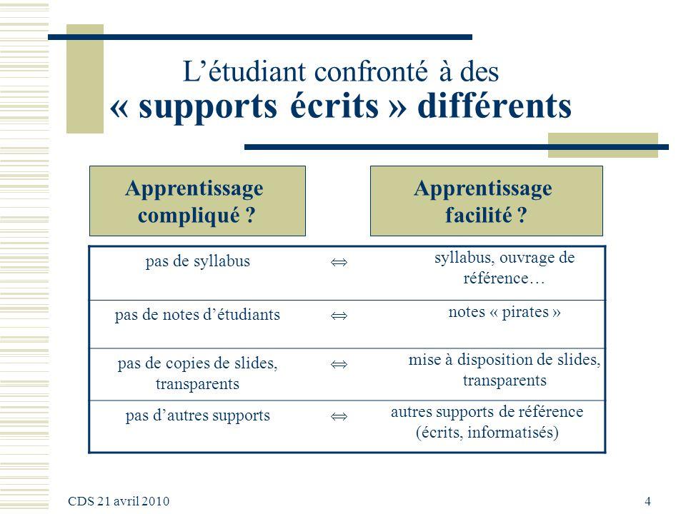 CDS 21 avril 2010 5 A cours différents, comportements de travail différents .