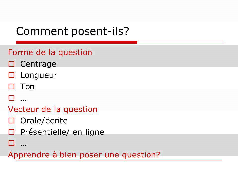 Comment posent-ils? Forme de la question Centrage Longueur Ton … Vecteur de la question Orale/écrite Présentielle/ en ligne … Apprendre à bien poser u