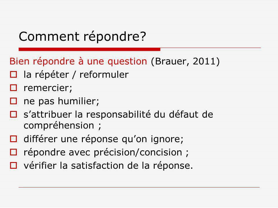Comment répondre? Bien répondre à une question (Brauer, 2011) la répéter / reformuler remercier; ne pas humilier; sattribuer la responsabilité du défa