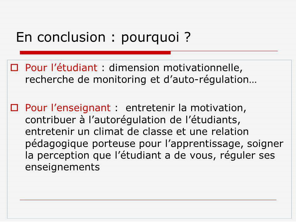 En conclusion : pourquoi ? Pour létudiant : dimension motivationnelle, recherche de monitoring et dauto-régulation… Pour lenseignant : entretenir la m