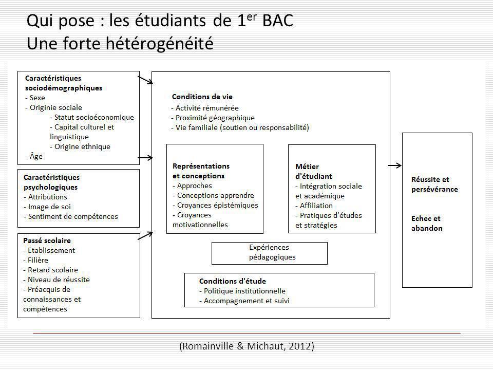 (Romainville & Michaut, 2012) Qui pose : les étudiants de 1 er BAC Une forte hétérogénéité