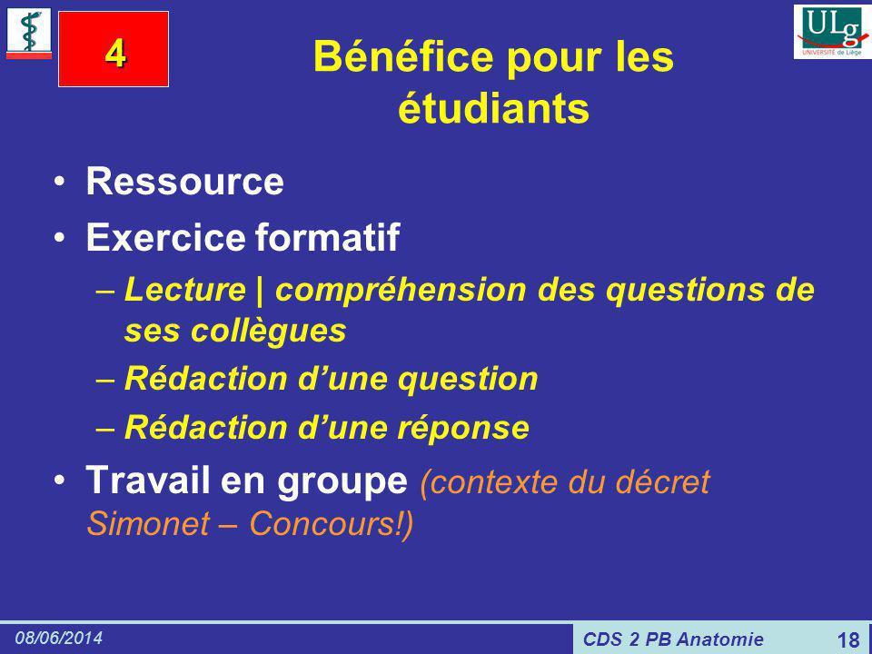 CDS 2 PB Anatomie 08/06/2014 18 Bénéfice pour les étudiants Ressource Exercice formatif –Lecture | compréhension des questions de ses collègues –Rédac