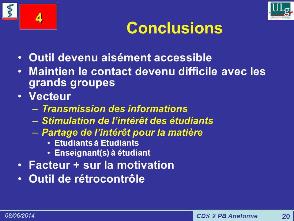 CDS 2 PB Anatomie 08/06/2014 20 Conclusions Outil devenu aisément accessible Maintien le contact devenu difficile avec les grands groupes Vecteur –Tra