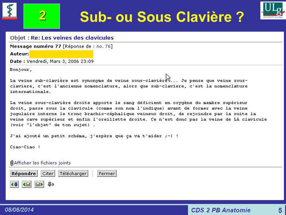 CDS 2 PB Anatomie 08/06/2014 5 2 Sub- ou Sous Clavière ?
