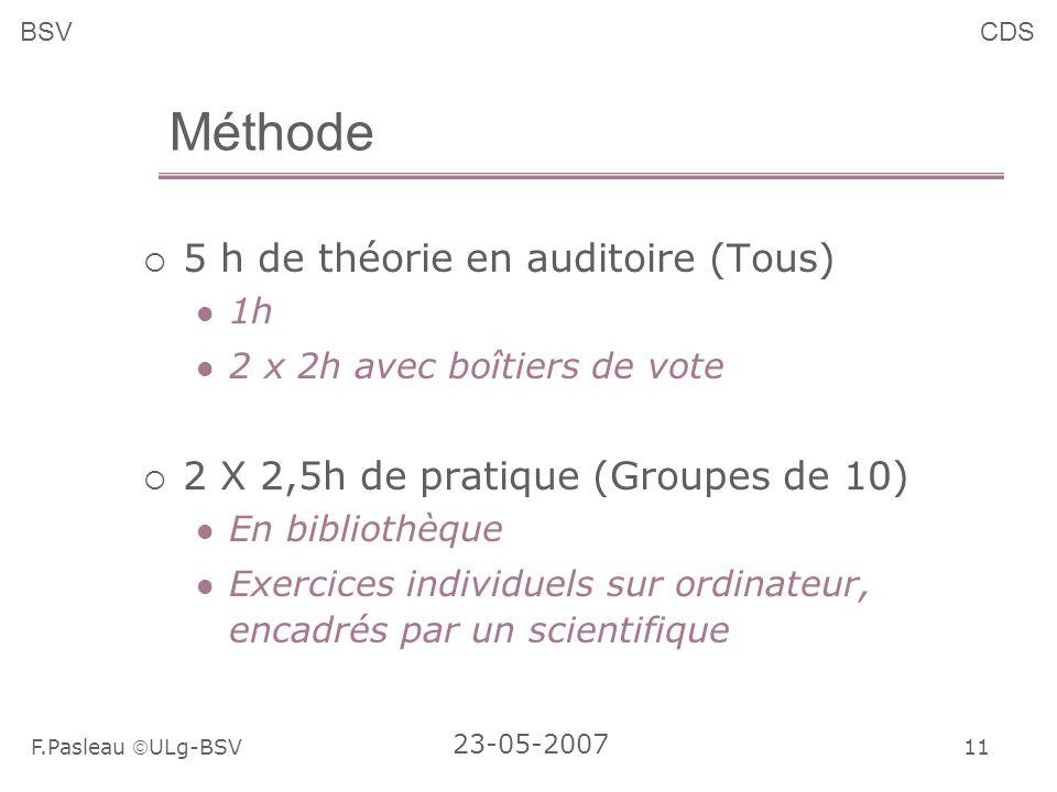 11 F.Pasleau ULg-BSV 23-05-2007 BSVCDS Méthode 5 h de théorie en auditoire (Tous) 1h 2 x 2h avec boîtiers de vote 2 X 2,5h de pratique (Groupes de 10) En bibliothèque Exercices individuels sur ordinateur, encadrés par un scientifique