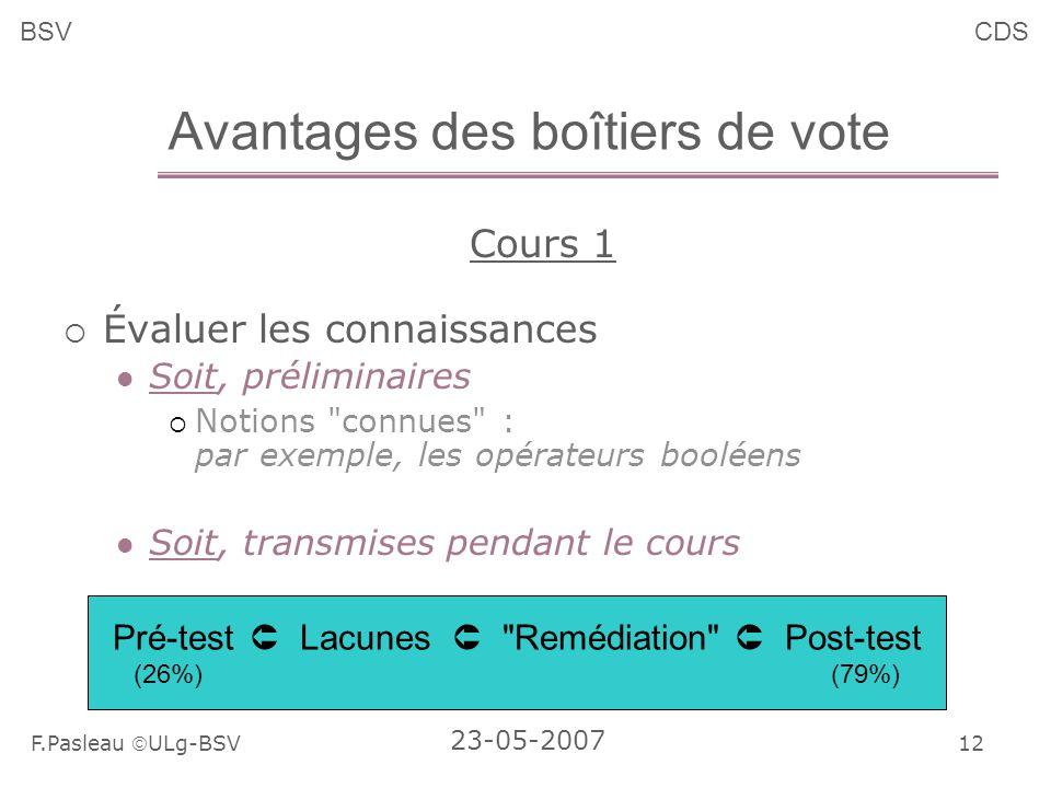 12 F.Pasleau ULg-BSV 23-05-2007 BSVCDS Avantages des boîtiers de vote Cours 1 Évaluer les connaissances Soit, préliminaires Notions connues : par exemple, les opérateurs booléens Soit, transmises pendant le cours Pré-test Lacunes Remédiation Post-test (26%) (79%)