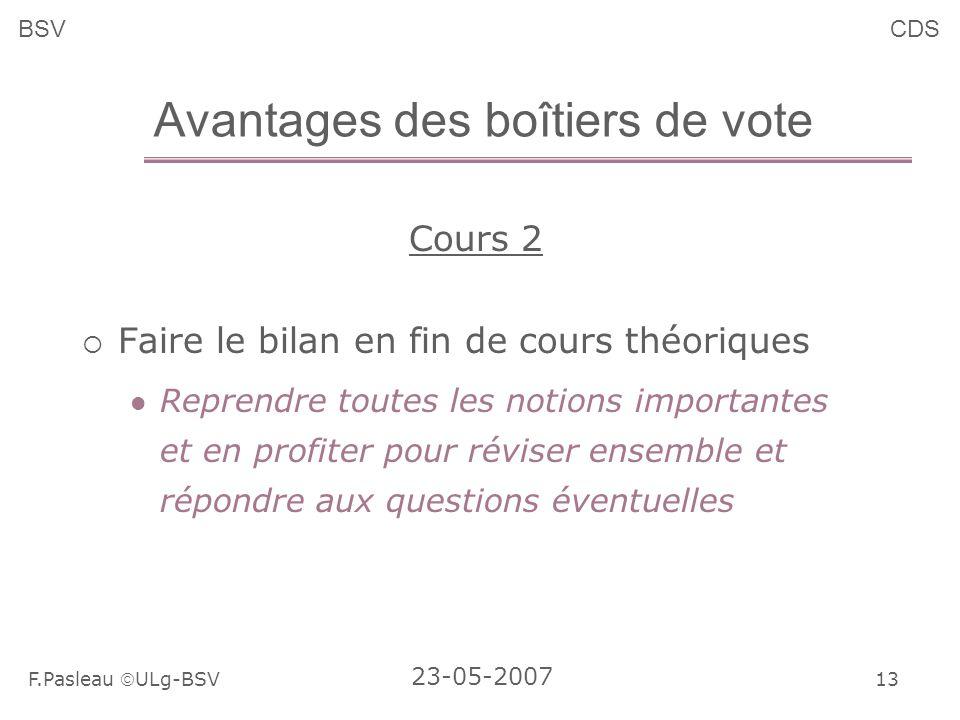 13 F.Pasleau ULg-BSV 23-05-2007 BSVCDS Avantages des boîtiers de vote Cours 2 Faire le bilan en fin de cours théoriques Reprendre toutes les notions importantes et en profiter pour réviser ensemble et répondre aux questions éventuelles