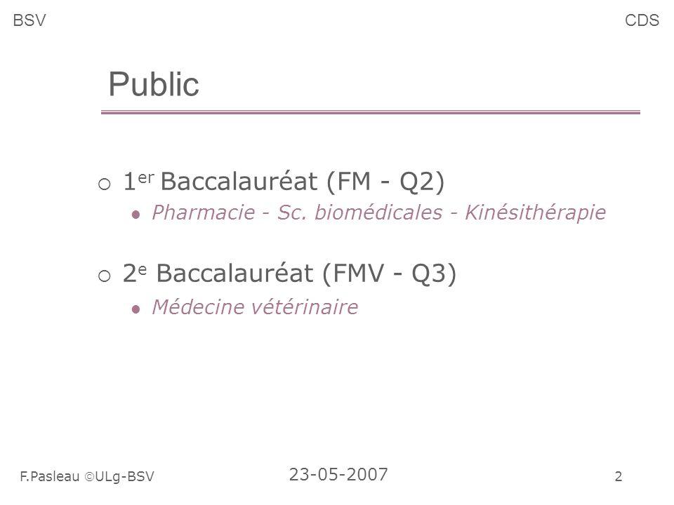 2 F.Pasleau ULg-BSV 23-05-2007 BSVCDS Public 1 er Baccalauréat (FM - Q2) Pharmacie - Sc.