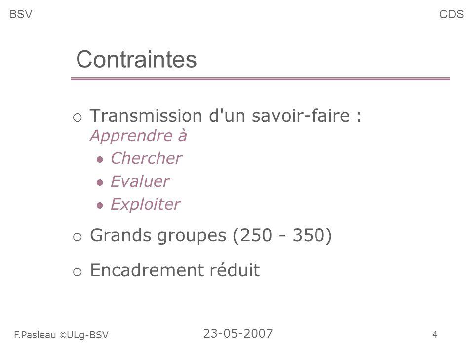 4 F.Pasleau ULg-BSV 23-05-2007 BSVCDS Contraintes Transmission d un savoir-faire : Apprendre à Chercher Evaluer Exploiter Grands groupes (250 - 350) Encadrement réduit