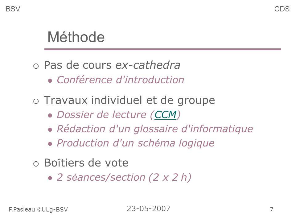7 F.Pasleau ULg-BSV 23-05-2007 BSVCDS Méthode Pas de cours ex-cathedra Conférence d introduction Travaux individuel et de groupe Dossier de lecture (CCM)CCM Rédaction d un glossaire d informatique Production d un sch é ma logique Bo î tiers de vote 2 s é ances/section (2 x 2 h)