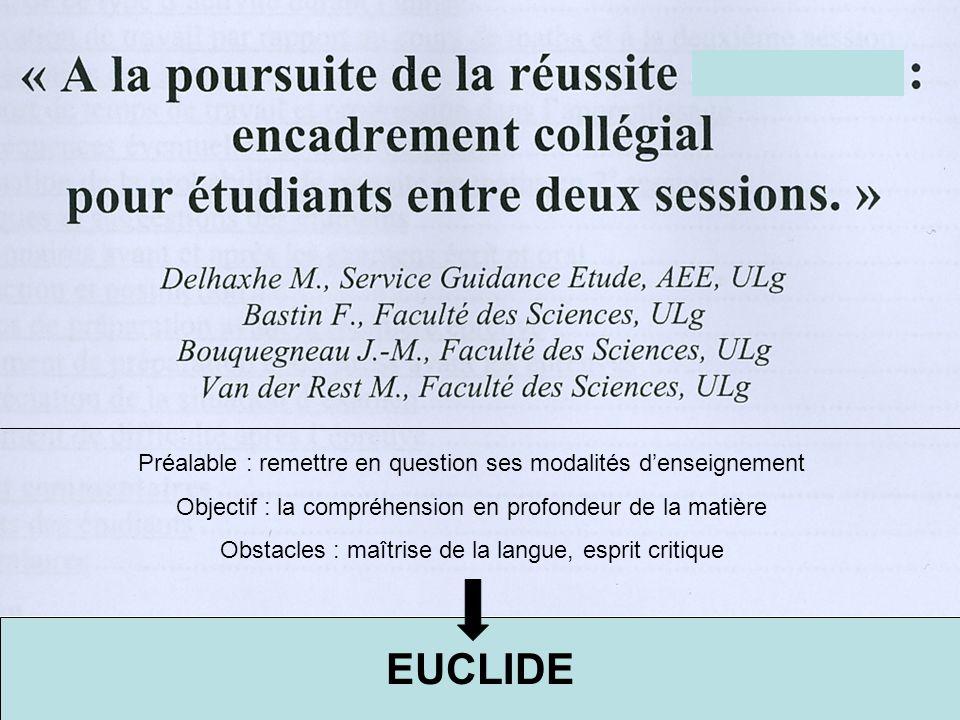 EUCLIDE Etude des interactions entre les compétences linguistiques et disciplinaires (mathématiques) chez des étudiants de premier bachelier en sciences