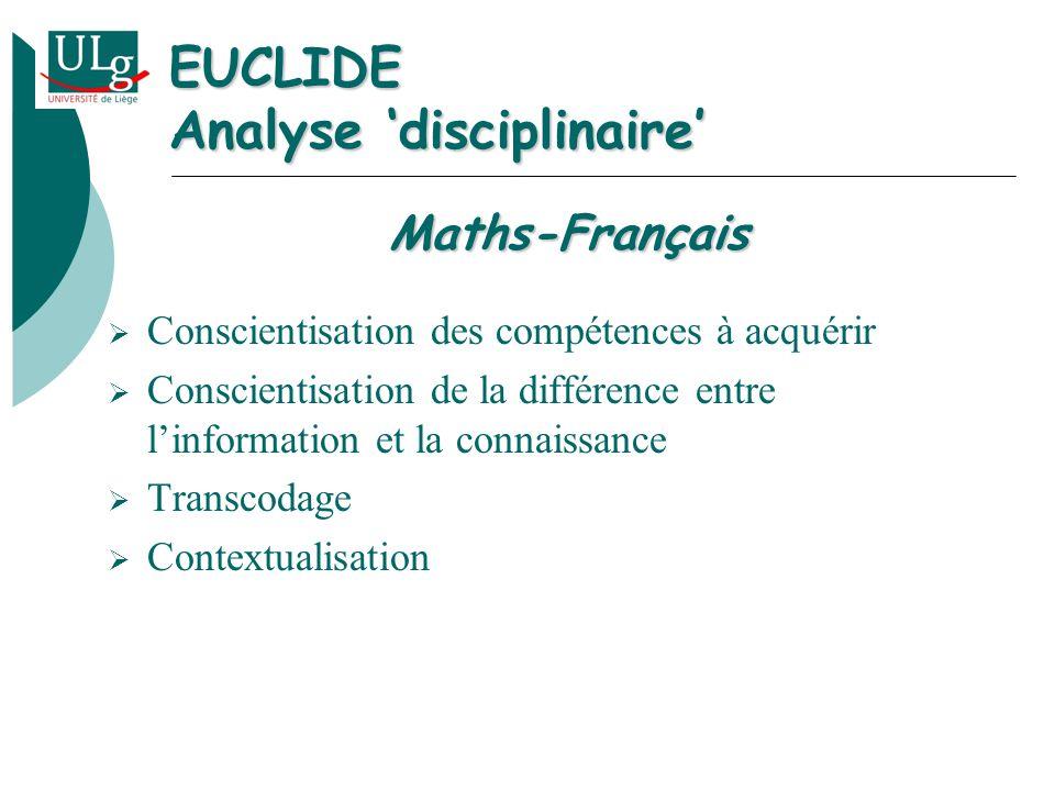 EUCLIDE Analyse disciplinaire Conscientisation des compétences à acquérir Conscientisation de la différence entre linformation et la connaissance Transcodage Contextualisation Maths-Français