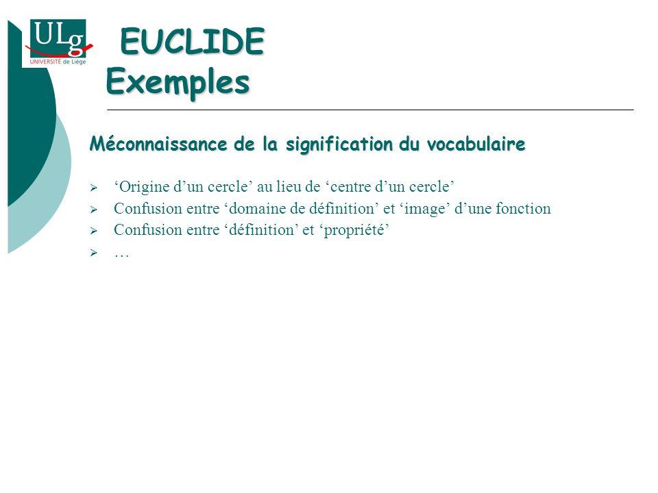 Méconnaissance de la signification du vocabulaire Origine dun cercle au lieu de centre dun cercle Confusion entre domaine de définition et image dune fonction Confusion entre définition et propriété … EUCLIDE Exemples EUCLIDE Exemples
