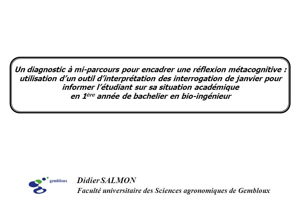 Didier SALMON Faculté universitaire des Sciences agronomiques de Gembloux Un diagnostic à mi-parcours pour encadrer une réflexion métacognitive : util
