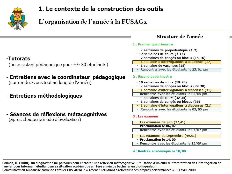 Lorganisation de lannée à la FUSAGx Structure de lannée 1 : Premier quadrimestre - 2 semaines de propédeutique (1-2) - 12 semaines de cours (3-14) - 2