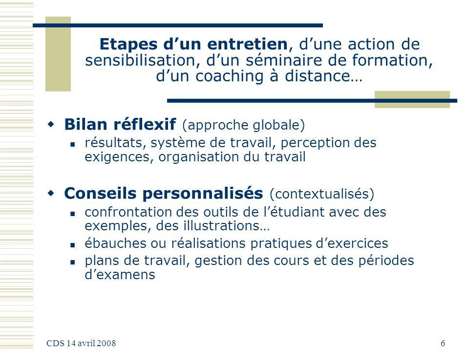 CDS 14 avril 2008 6 Etapes dun entretien, dune action de sensibilisation, dun séminaire de formation, dun coaching à distance… Bilan réflexif (approch