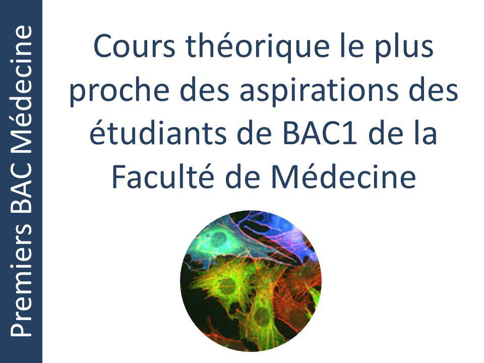 Premiers BAC Médecine Cours théorique le plus proche des aspirations des étudiants de BAC1 de la Faculté de Médecine