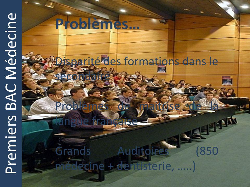 Premiers BAC Médecine Problèmes… Disparité des formations dans le secondaire Problèmes de maitrise de la langue française Grands Auditoires (850 médec