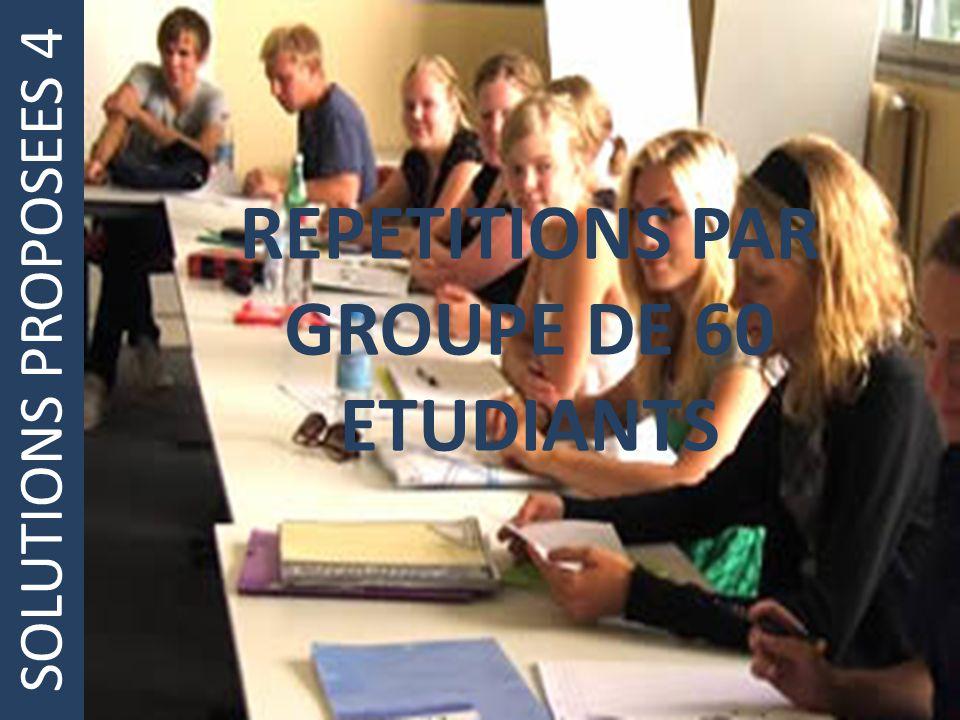 SOLUTIONS PROPOSEES 4 REPETITIONS PAR GROUPE DE 60 ETUDIANTS