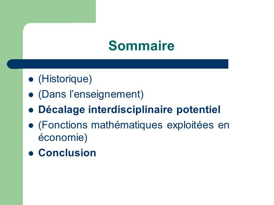 Sommaire (Historique) (Dans lenseignement) Décalage interdisciplinaire potentiel (Fonctions mathématiques exploitées en économie) Conclusion