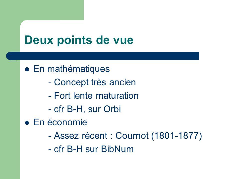 Analyse infinitésimale Souvent variations discrètes (ou entières) Infini actuel Notations dC/dq (ou D ou « del » ou « delta ») Variation marginale : C(q+1) – C(q) ou C(q) ou C(q)-C(q-1) Importance de lélasticité (sans dérivée) Différentielle = nombre très petit Variations généralement continue Infini potentiel Notation : f(x) Variation : Peu dintérêt pour lélasticité (avec dérivée) Différentielle = fct linéaire
