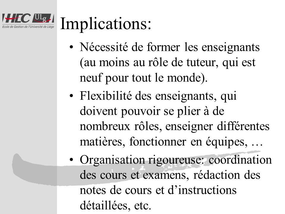 Implications: Nécessité de former les enseignants (au moins au rôle de tuteur, qui est neuf pour tout le monde).