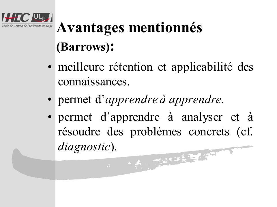 Avantages mentionnés (Barrows) : meilleure rétention et applicabilité des connaissances.