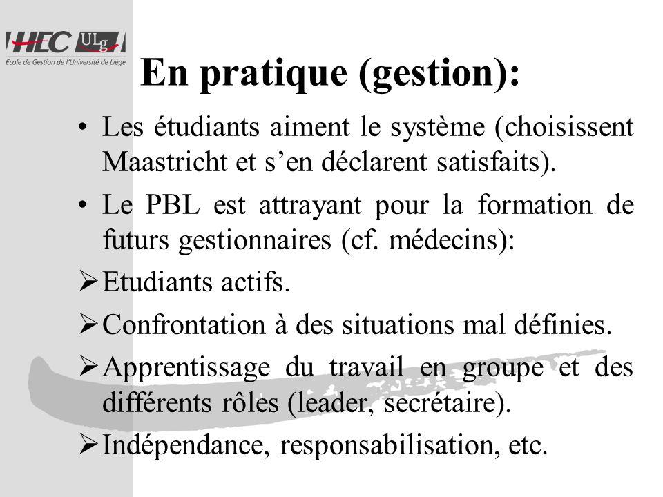 En pratique (gestion): Les étudiants aiment le système (choisissent Maastricht et sen déclarent satisfaits).