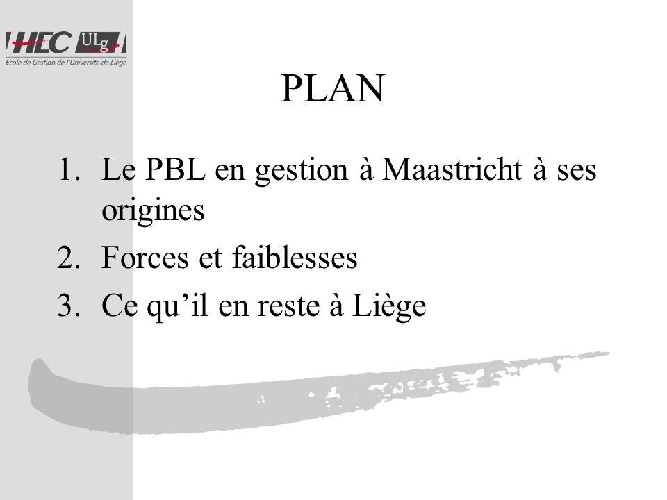PLAN 1.Le PBL en gestion à Maastricht à ses origines 2.Forces et faiblesses 3.Ce quil en reste à Liège