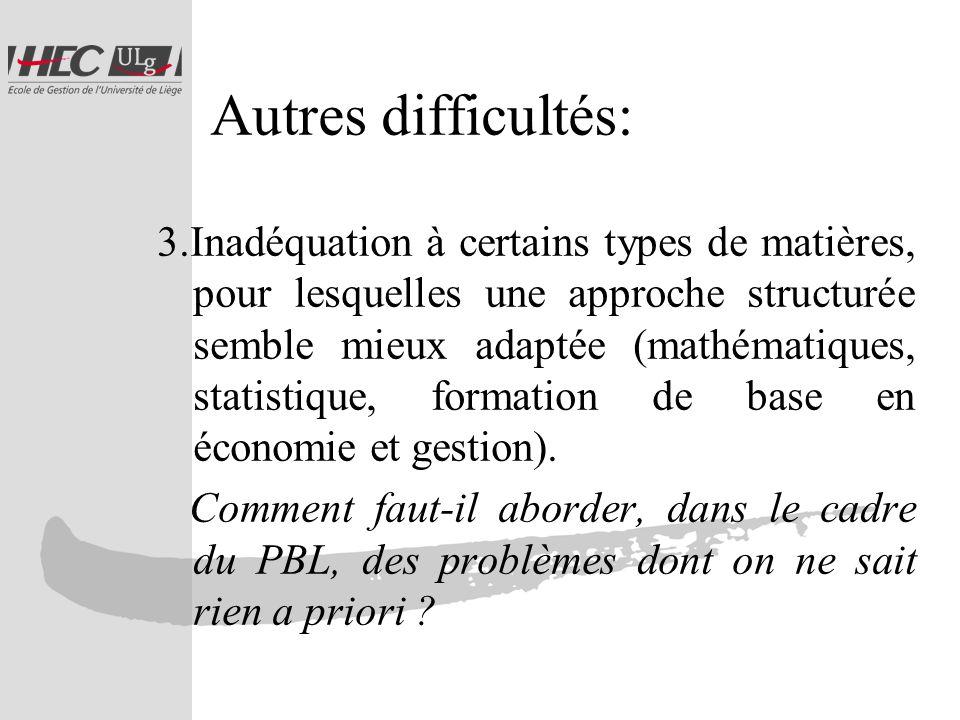 Autres difficultés: 3.Inadéquation à certains types de matières, pour lesquelles une approche structurée semble mieux adaptée (mathématiques, statistique, formation de base en économie et gestion).