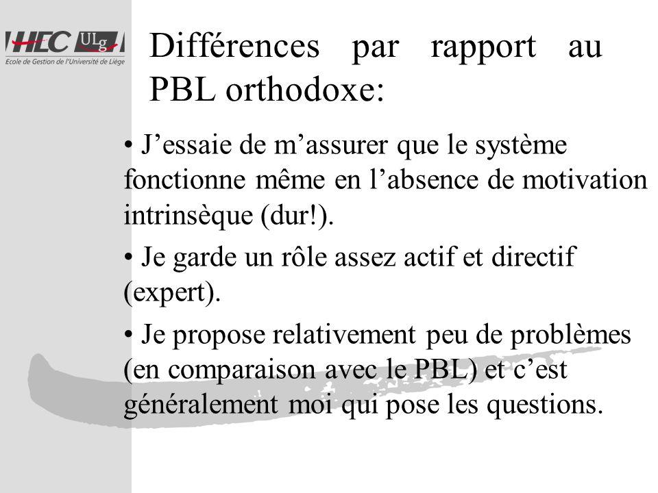 Différences par rapport au PBL orthodoxe: Jessaie de massurer que le système fonctionne même en labsence de motivation intrinsèque (dur!).