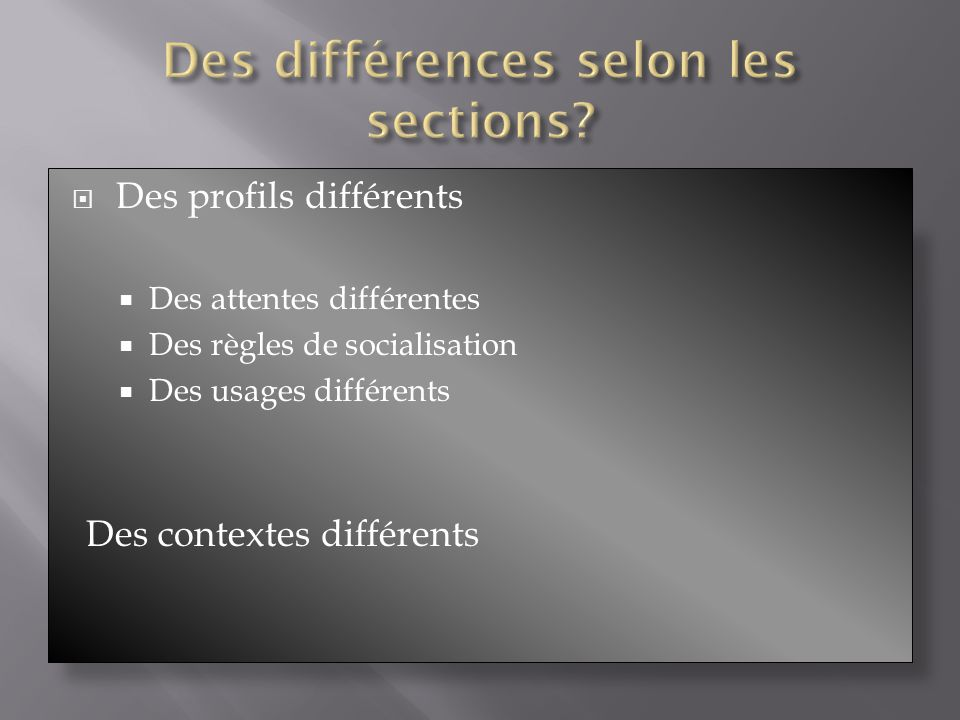 Des profils différents Des attentes différentes Des règles de socialisation Des usages différents Des contextes différents