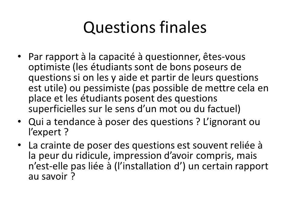 Questions finales Par rapport à la capacité à questionner, êtes-vous optimiste (les étudiants sont de bons poseurs de questions si on les y aide et pa
