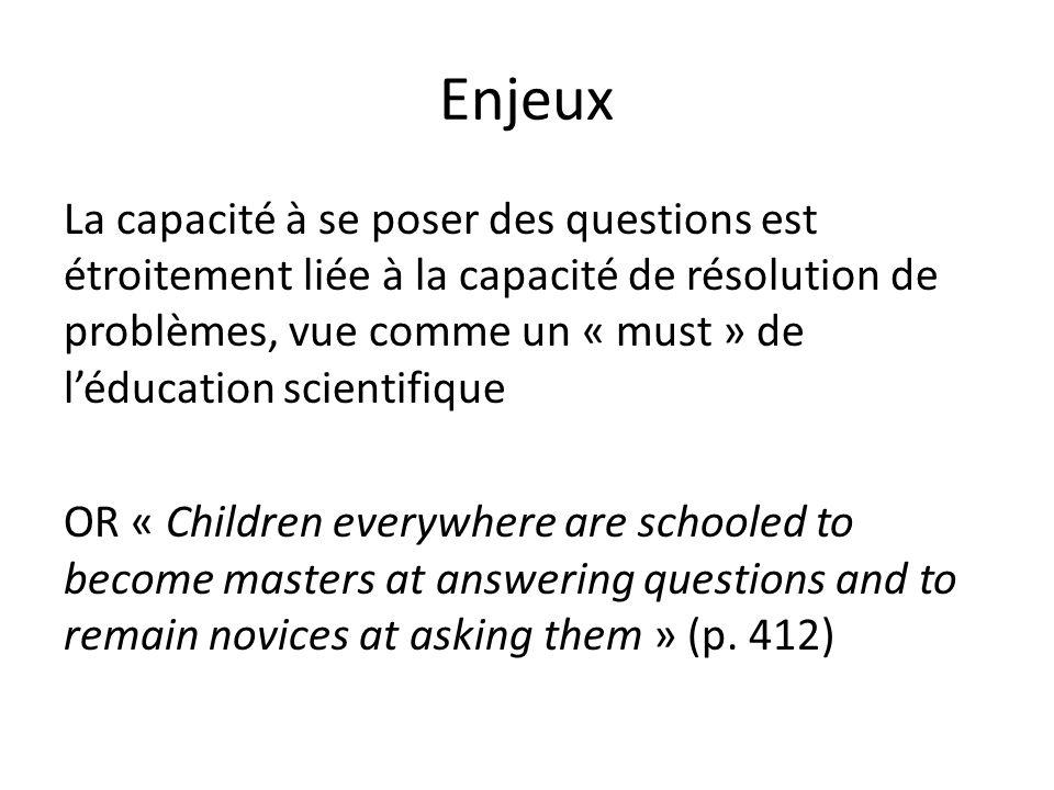 Enjeux La capacité à se poser des questions est étroitement liée à la capacité de résolution de problèmes, vue comme un « must » de léducation scientifique OR « Children everywhere are schooled to become masters at answering questions and to remain novices at asking them » (p.