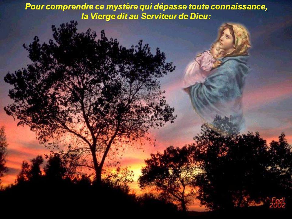 Pour comprendre ce mystère qui dépasse toute connaissance, la Vierge dit au Serviteur de Dieu: