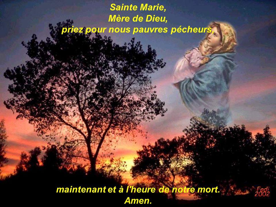 Sainte Marie, Mère de Dieu, priez pour nous pauvres pécheurs, maintenant et à l'heure de notre mort. Amen.