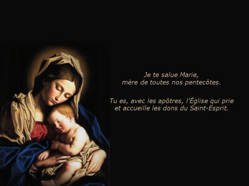 Je te salue Marie, mère de Jésus et du disciple qui a cru. Tu es la mère des hommes et de l'Église. Tu es au carrefour de l'histoire du salut que Dieu