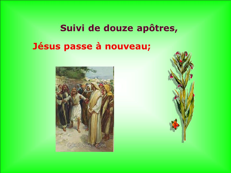 .. Suivi de douze apôtres, Jésus passe à nouveau;