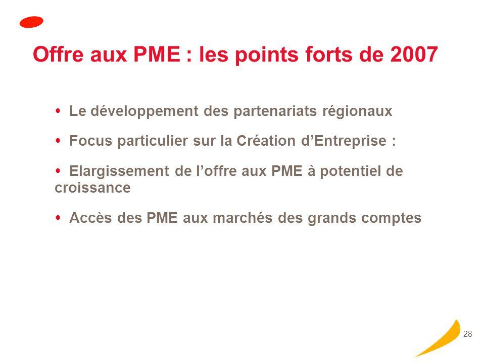 28 Offre aux PME : les points forts de 2007 Le développement des partenariats régionaux Focus particulier sur la Création dEntreprise : Elargissement de loffre aux PME à potentiel de croissance Accès des PME aux marchés des grands comptes