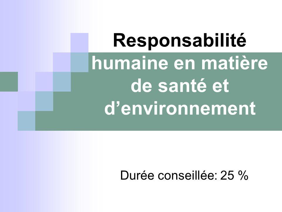 Responsabilité humaine en matière de santé et denvironnement Durée conseillée: 25 %