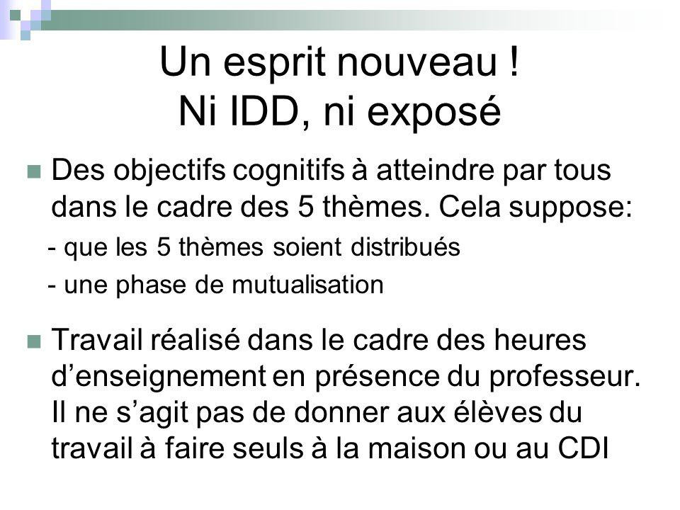 Un esprit nouveau ! Ni IDD, ni exposé Des objectifs cognitifs à atteindre par tous dans le cadre des 5 thèmes. Cela suppose: - que les 5 thèmes soient