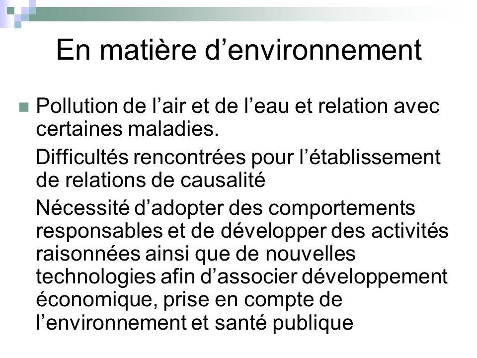 En matière denvironnement Pollution de lair et de leau et relation avec certaines maladies. Difficultés rencontrées pour létablissement de relations d