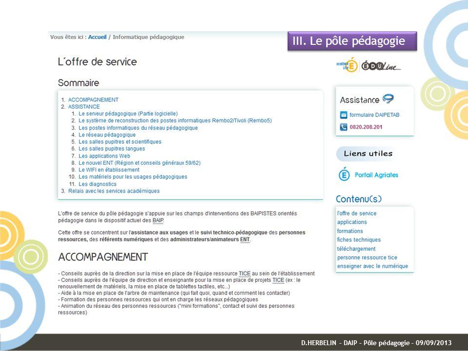 III. Le pôle pédagogie D.HERBELIN – DAIP – Pôle pédagogie – 09/09/2013