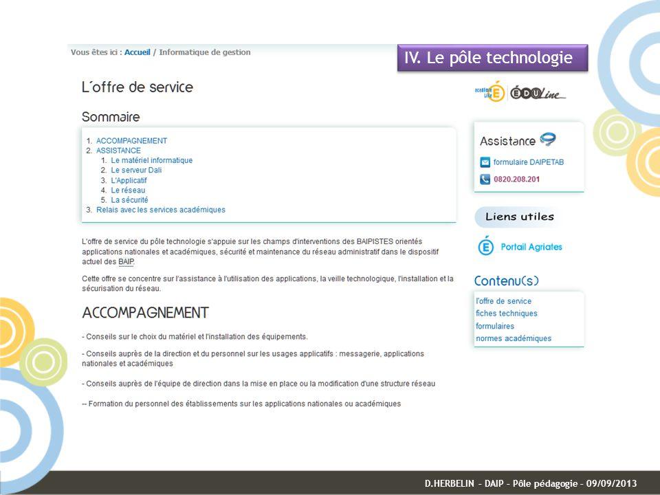 IV. Le pôle technologie D.HERBELIN – DAIP – Pôle pédagogie – 09/09/2013