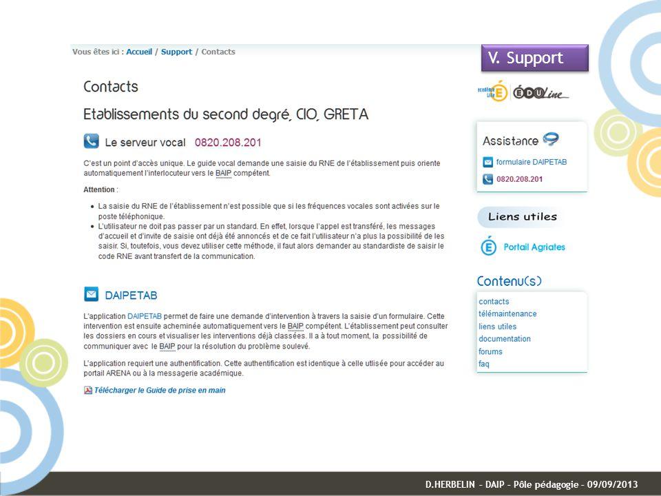 V. Support D.HERBELIN – DAIP – Pôle pédagogie – 09/09/2013
