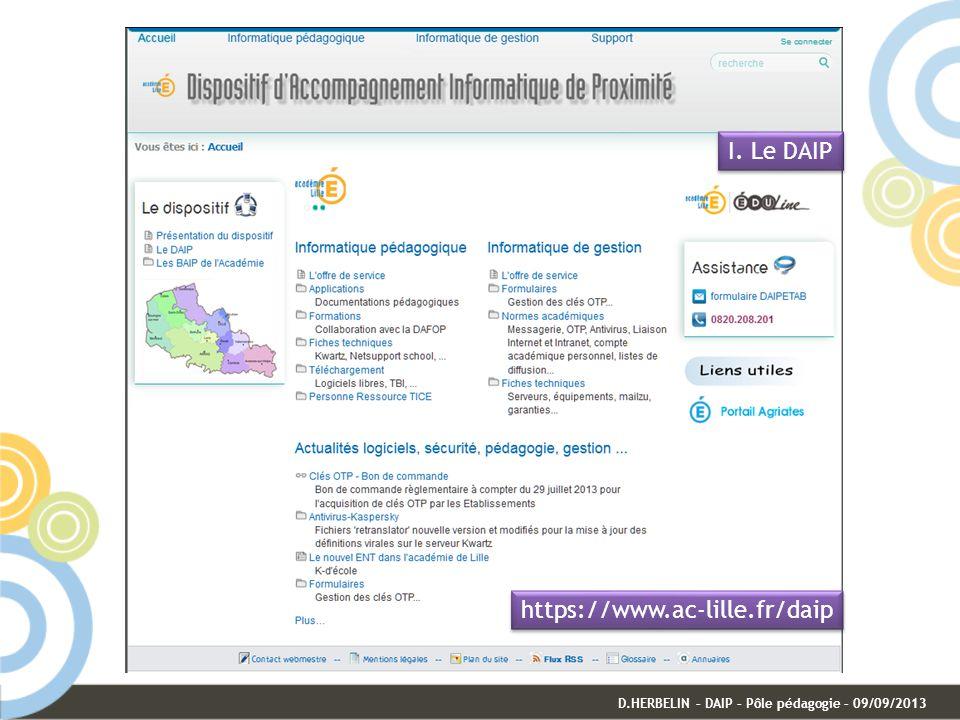 I. Le DAIP D.HERBELIN – DAIP – Pôle pédagogie – 09/09/2013 https://www.ac-lille.fr/daip