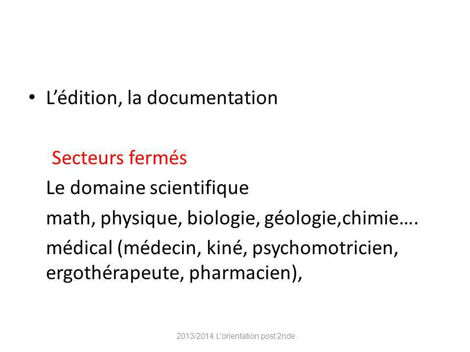 Lédition, la documentation Secteurs fermés Le domaine scientifique math, physique, biologie, géologie,chimie….