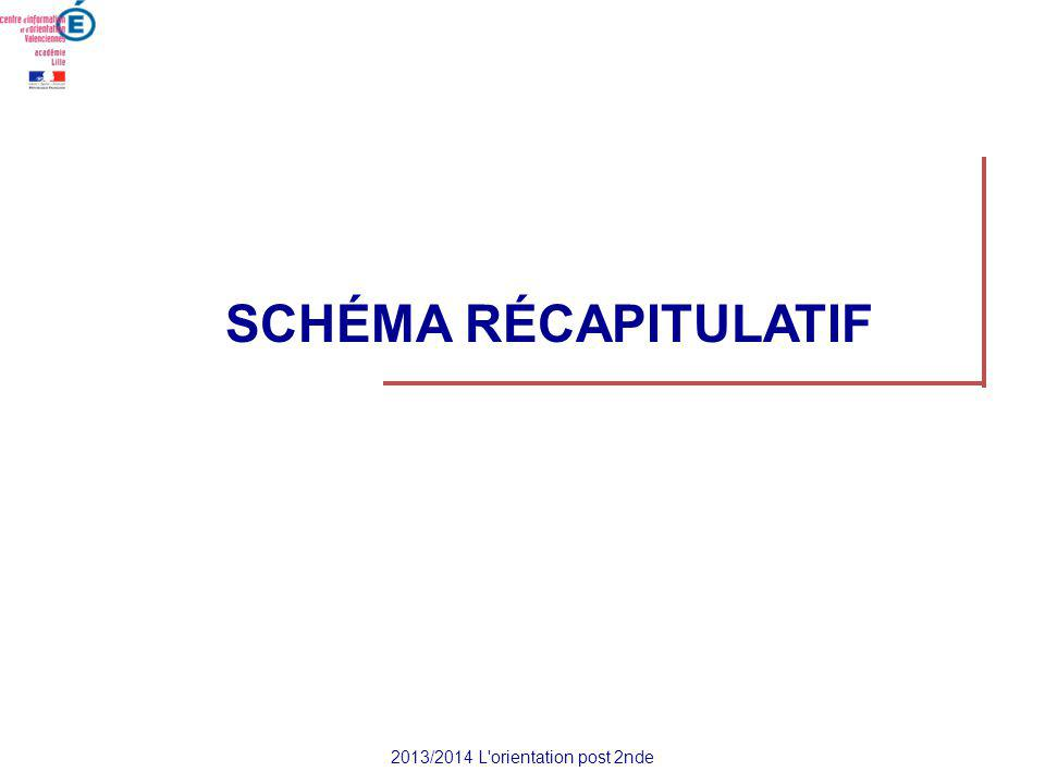 SCHÉMA RÉCAPITULATIF 2013/2014 L orientation post 2nde