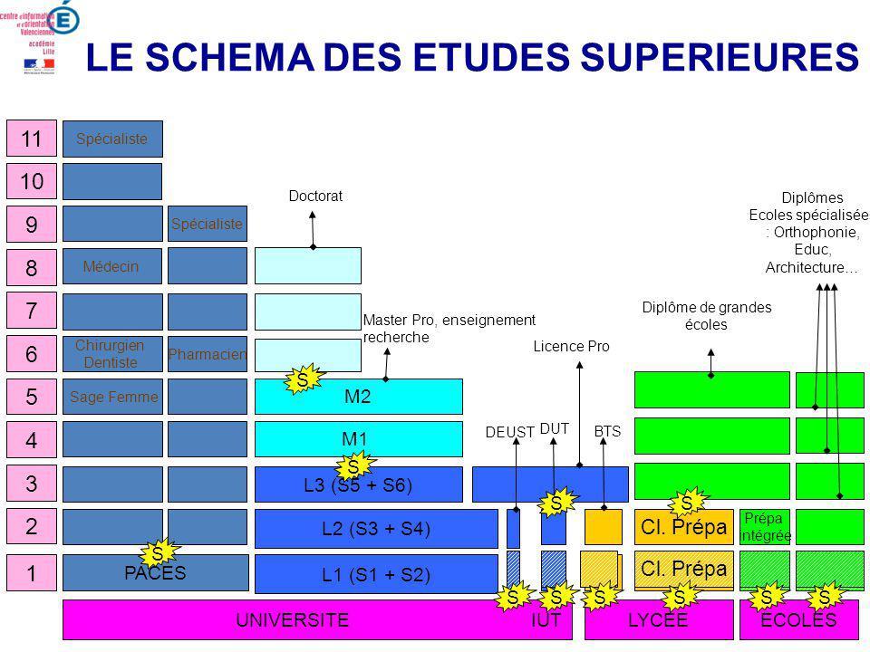 LE SCHEMA DES ETUDES SUPERIEURES 1 4 3 2 5 8 7 6 11 10 9 Cl.