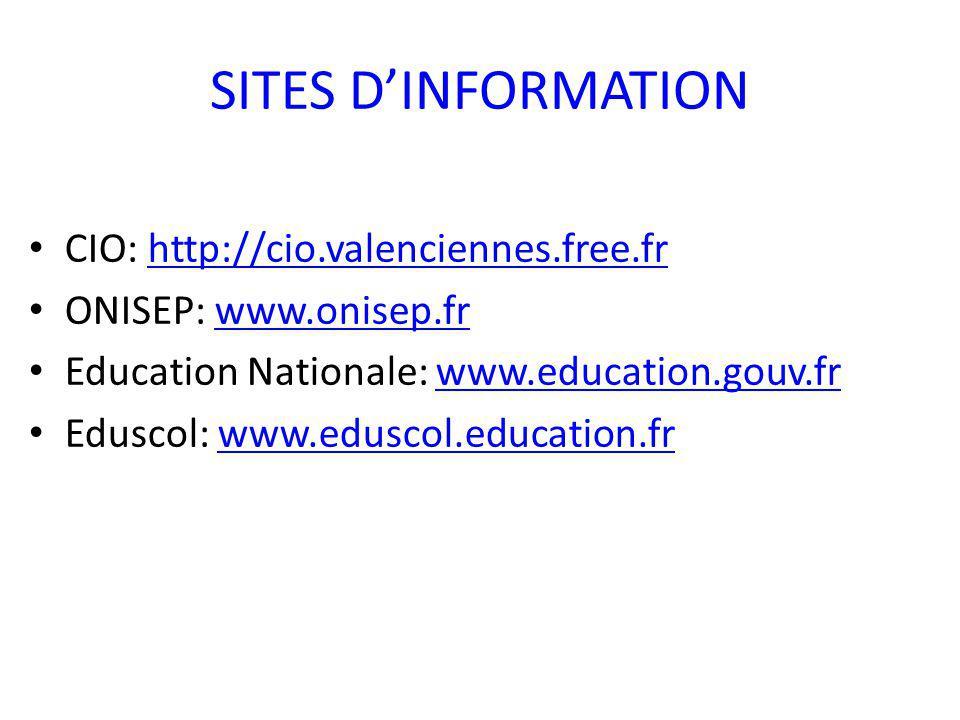 SITES DINFORMATION CIO: http://cio.valenciennes.free.frhttp://cio.valenciennes.free.fr ONISEP: www.onisep.frwww.onisep.fr Education Nationale: www.education.gouv.frwww.education.gouv.fr Eduscol: www.eduscol.education.frwww.eduscol.education.fr